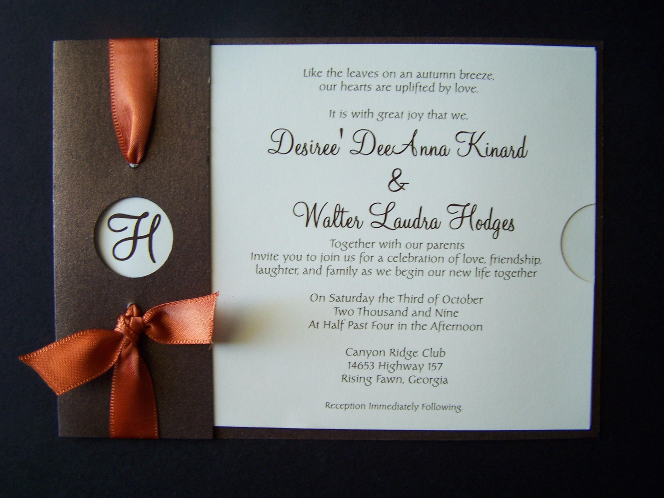 Fall Wedding Invitation Wording: Fall Wedding Invitation With Postcard Tear Off